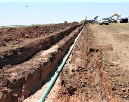 A fuel transfer pipeline being installed underground