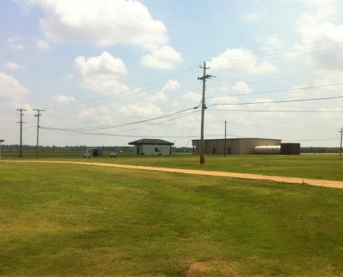 Grass around the refueler parking facility