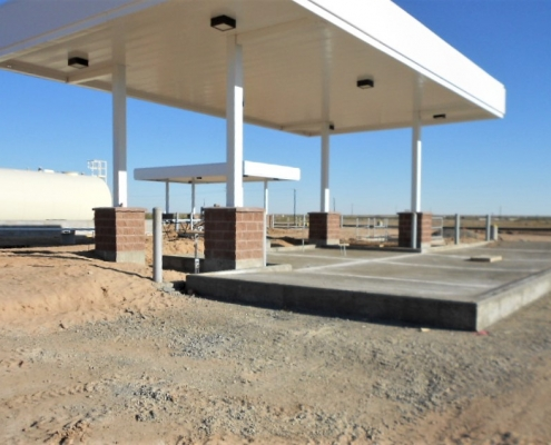 A progress photo of constructing a fueling range site