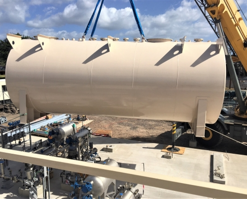 Installing a 15,000 gallon fuel storage tank