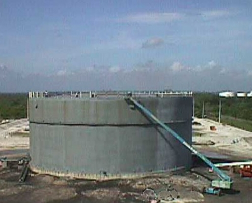 An 55,000-bbl above-ground fuel storage tank being repaired at the MacDill Air Force Base