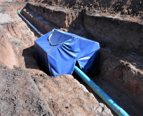 An underground fuel transfer pipeline