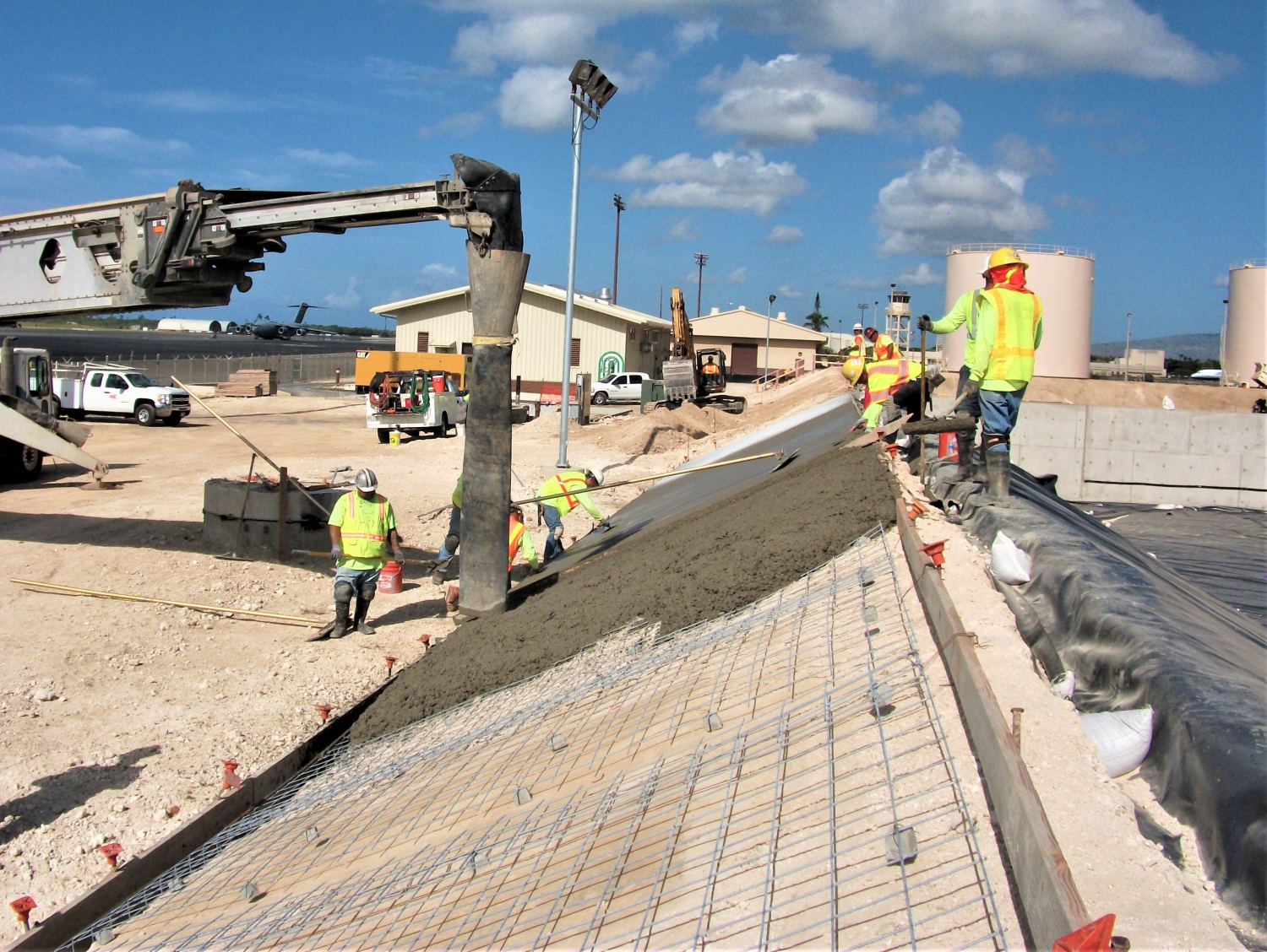 Pouring concrete for the fuel containment area