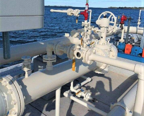 Newly installed fuel equipment on a fueling pier