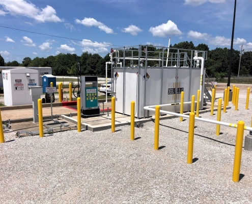 A fueling station at Camp Crowder